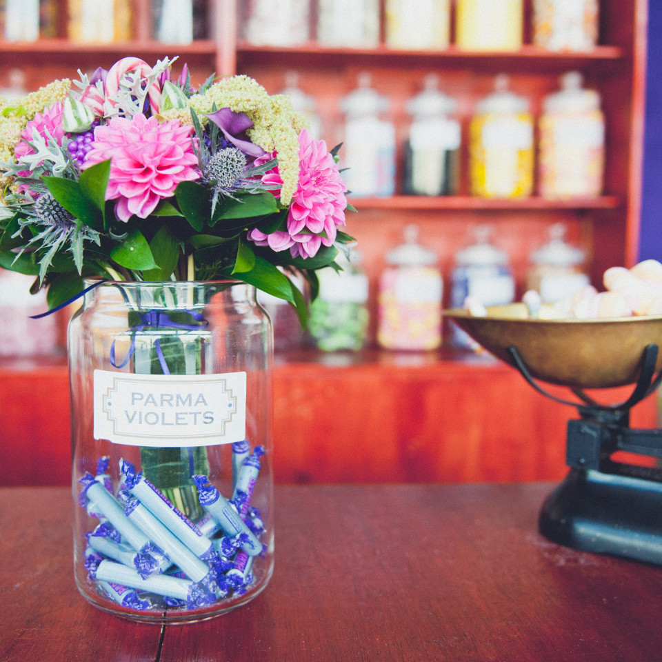 Wonka Photoshoot - flowers in a sweet jar